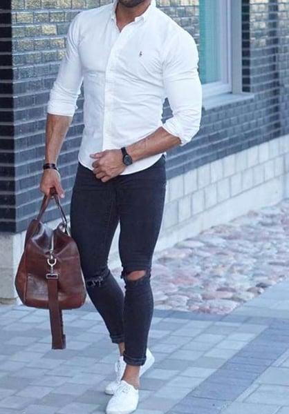 Image of Men's Large Handmade Leather Duffle Bag / Travel Bag / Weekend Bag / Gym Bag (n93L)