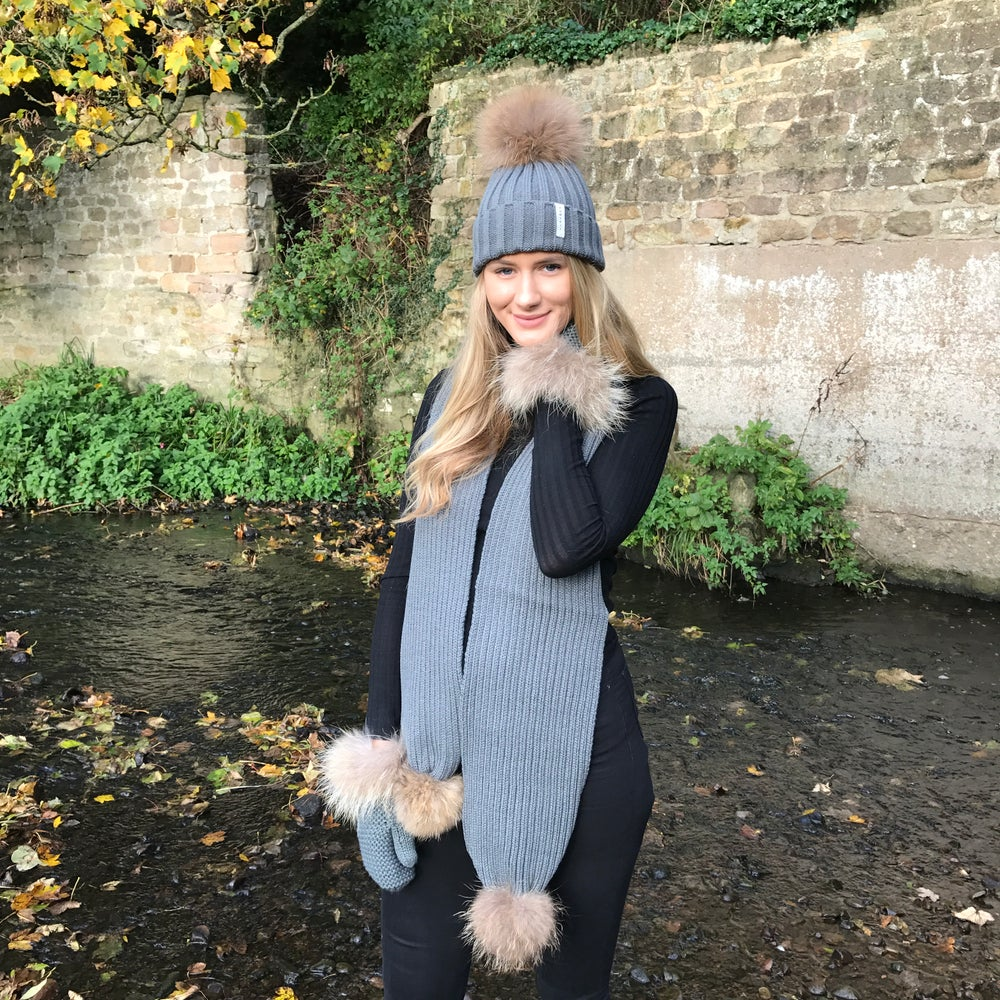 Image of Ash Grey Pom Pom Scarf