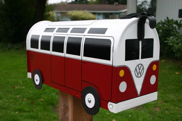 Image of Red 21 Window Made To Order Volkswagen Bus - Colonial Red Mailbox by TheBusBox - Choose Your Color