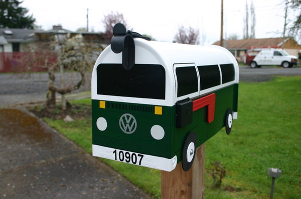 Image of Hunter Green Two Tone Bay Window Volkswagen Bus Mailbox by TheBusBox - Choose your color VW