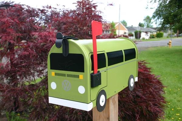 Image of Eden Green Bay Window Volkswagen Bus Mailbox by TheBusBox VW