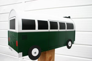 Image of Hunter Green Split Window Volkswagen Bus Mailbox by TheBusBox VW Splitty