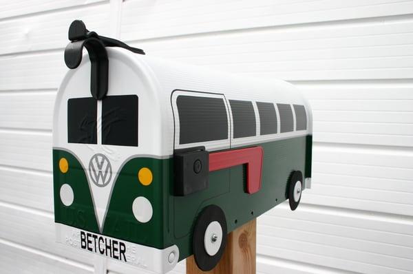 Image of Hunter Green Split Window Volkswagen Bus Mailbox by TheBusBox VW Splitty