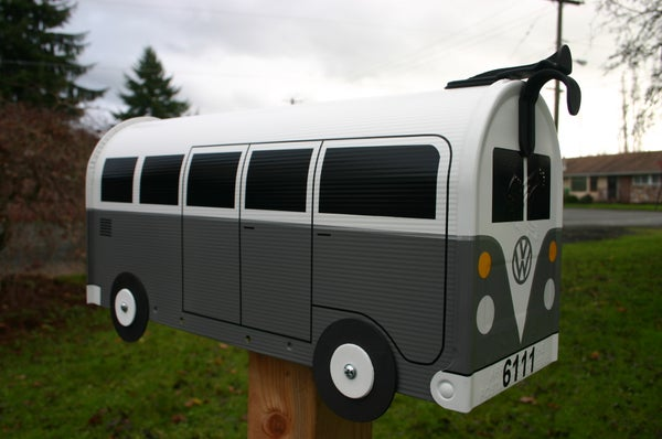 Image of Grey Split Window Volkswagen Bus Mailbox by TheBusBox - Choose your color VW Gray Splitty