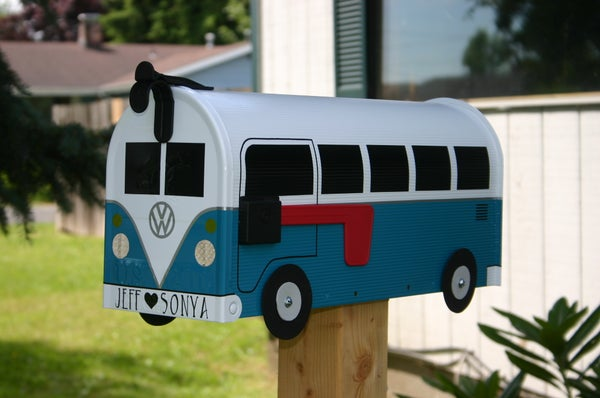 Image of Teal Split Window Volkswagen Bus Mailbox by TheBusBox - Choose your color VW Splitty