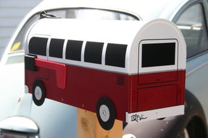Image of Colonial Red Volkswagen Bus Mailbox by TheBusBox