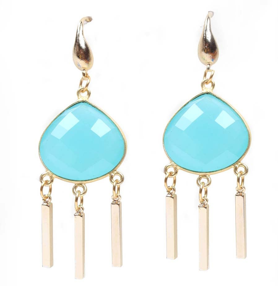 Image of AQUA DROPLET CHANDELIER EARRINGS