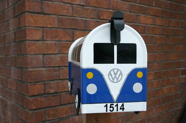 Image of Deep Blue 11 Window Volkswagen Bus Mailbox by TheBusBox - Choose your color VW Splitty