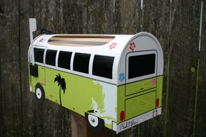 Image of Lime Green Surf Themed Volkswagen Bus Mailbox by TheBus Box - Choose your color, Surfer Van