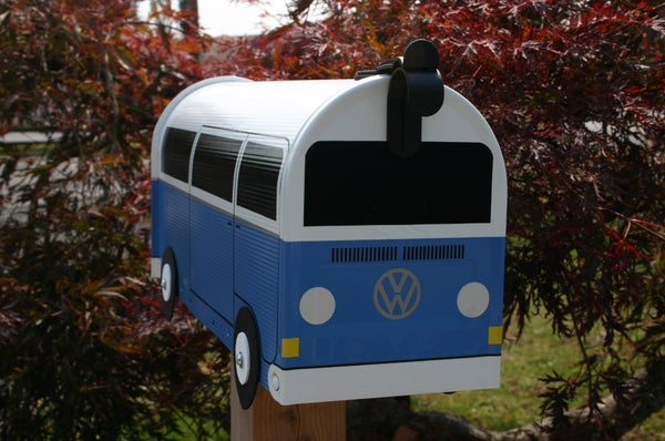 Image of Wildflower Blue Two Tone Bay Window Volkswagen Bus Mailbox by TheBusBox VW