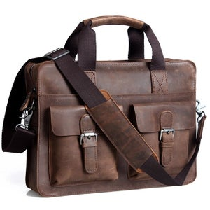 "Image of Vintage Handmade Crazy Horse Leather Briefcase / Satchel / 11"" 13"" MacBook 12"" 13"" Laptop Bag (n07)"