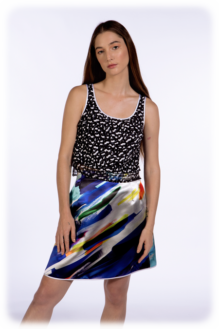 Image of 50% OFF - Double Layered Tank with Sheer Panel - Black Dabs