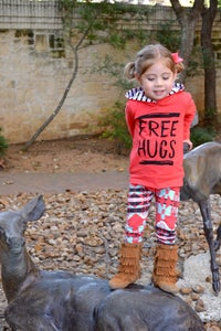 Image of FREE HUGS Hot Coral Aztec Hoodie Pant Set, Fall, photos, baby, toddler, girl