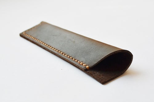Image of Hand Stitched Genuine Natural Leather Pen Holder, Leather Pen Case D02