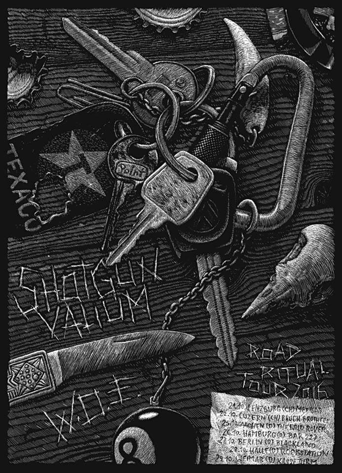 Image of »Shotgun Valium« + »W.O.E.« Gig-Poster