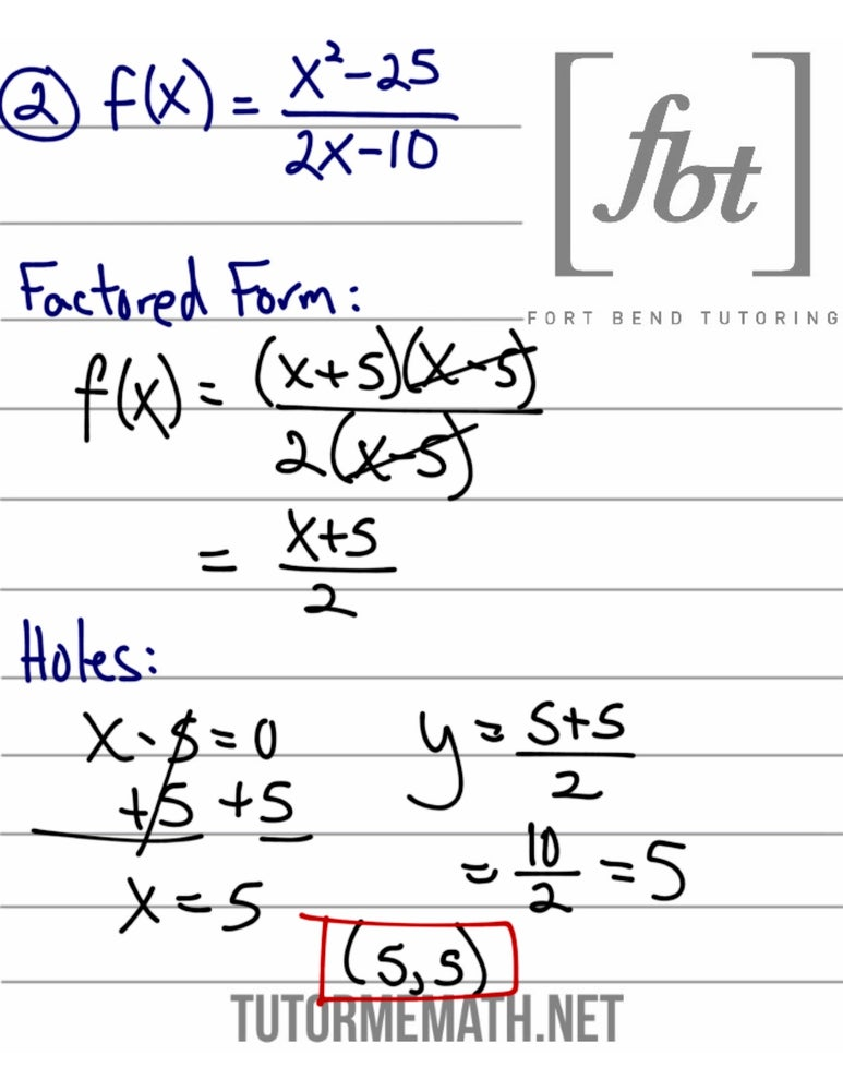 Image of Rational Functions: Holes FBT YouTube Video Notes