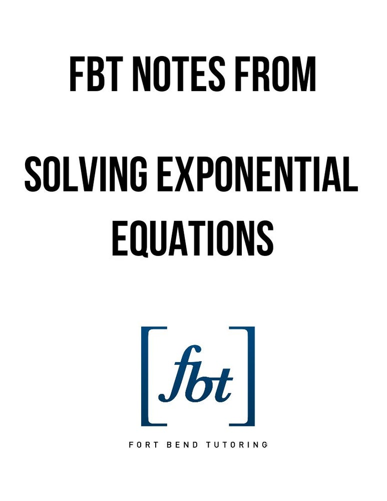 Image of Exponential Equations FBT YouTube Video Notes