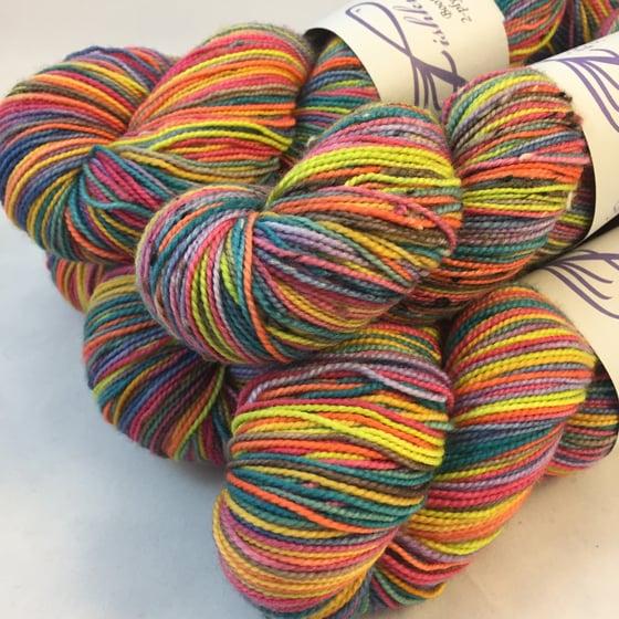 Image of Sprinkles Ten: Superwash Strong Heart, Boot Strap BFL, or tweedy Stalwurthe Self Striping Sock Yarn