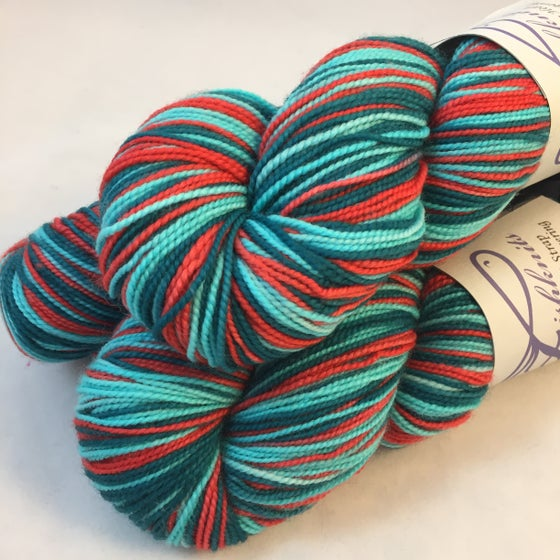 Image of Poppy Fields: Superwash Strong Heart or Boot Strap BFL Self Striping Sock Yarn