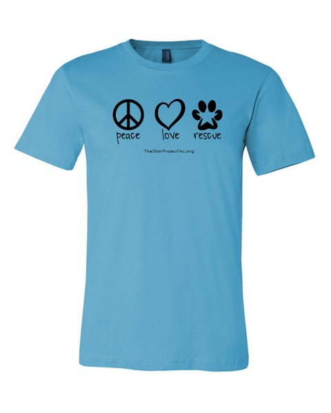 Image of Peace, Love, Rescue - Turquoise