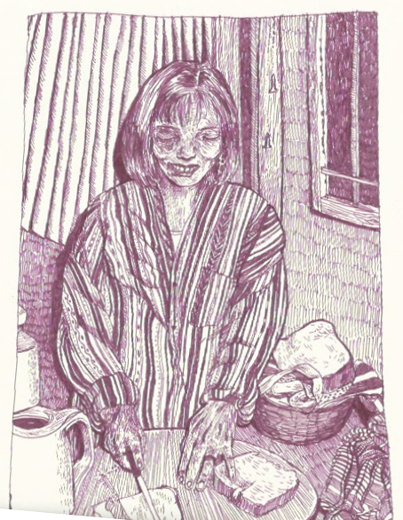 Image of cutting bread - print