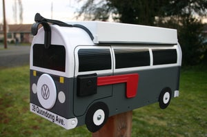 Image of Gray Two Tone Bay Window Volkswagen Camper Bus Mailbox by TheBusBox - Choose your color VW