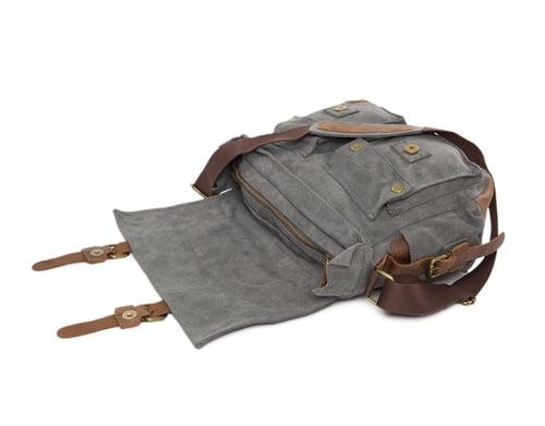 Image of Canvas Leather Messenger Bag Crossbody Bag Shoulder Bag Laptop Bag 2138K