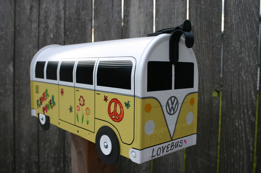 Image of Yellow Two Tone Volkswagen Bus Mailbox by TheBusBox - VW Graffiti Hippie Peace Love Flower Power