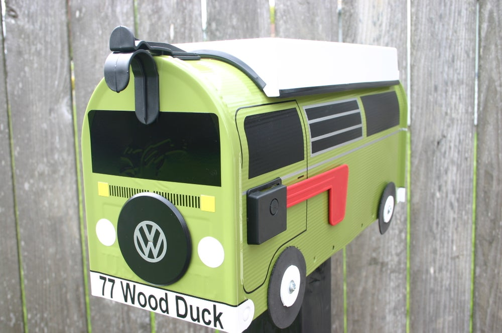 Image of Eden Green Bay Window Volkswagen Camper Bus Mailbox by TheBusBox - Choose your color VW