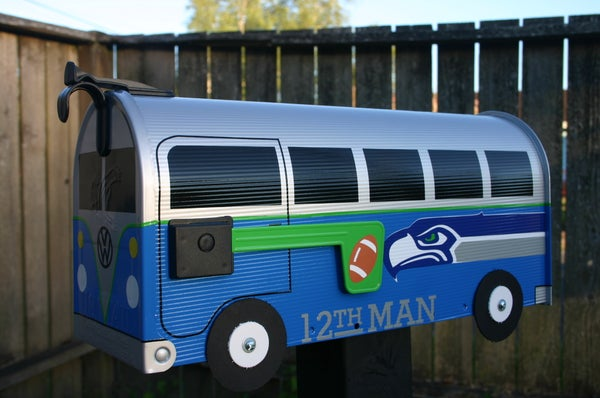 Image of Seattle Seahawks Split Window Volkswagen Bus Mailbox by TheBusBox - VW NFL Football