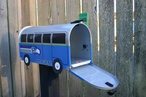 Image of Seattle Seahawks Split Window Volkswagen Bus Mailbox by TheBusBox - VW NFL Football