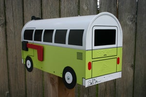 Image of Lime Green Split Window Volkswagen Bus Mailbox by TheBusBox - Choose your color VW