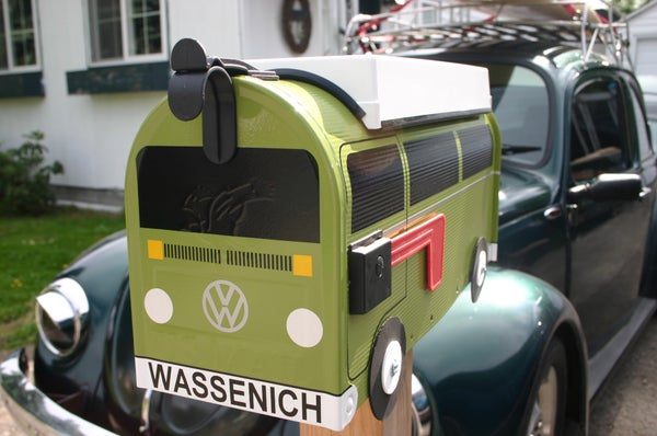 Image of Eden Green Bay Window Volkswagen Camper Bus Mailbox by TheBusBox - Choose your color VW Westy