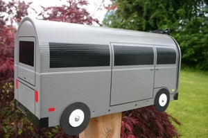 Image of Gray Single Color Bay Window Volkswagen Bus Mailbox by TheBusBox - Choose your color VW