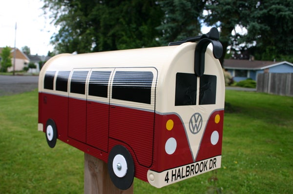 Image of Cream and Colonial Red Split Window Volkswagen Bus Mailbox by TheBusBox - Choose your color VW