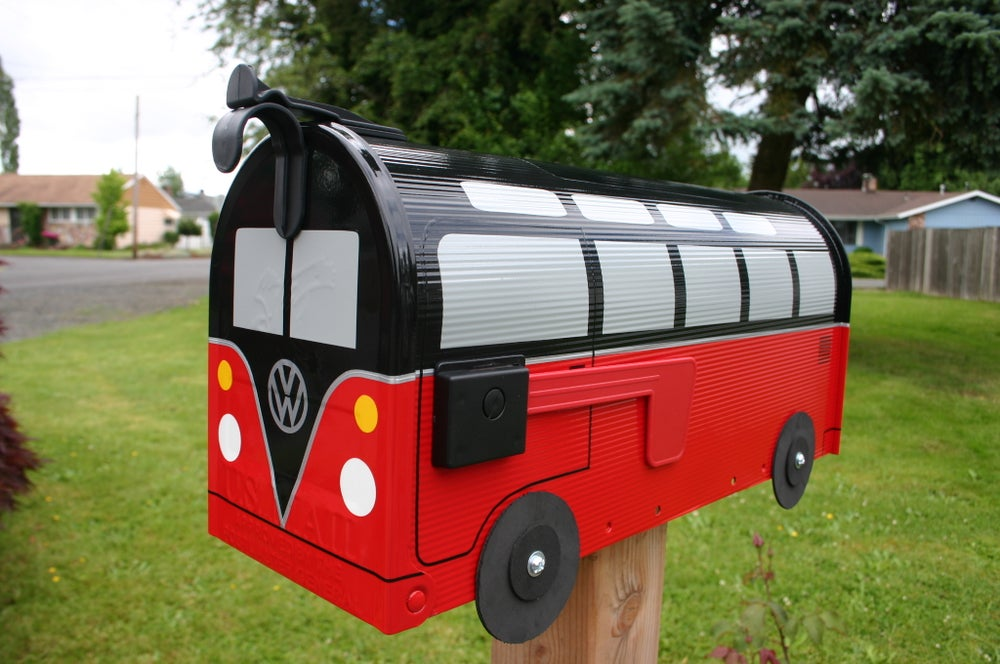 Image of Black and Red Split Window Volkswagen Bus Mailbox by TheBusBox - Choose your color VW