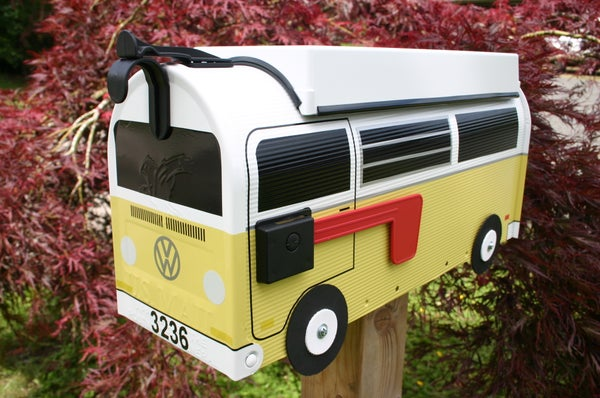 Image of Yellow Two Tone Bay Window Volkswagen Camper Bus Mailbox by TheBusBox - Choose your color VW