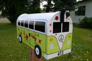 Image of Lime Green Split Window Volkswagen Hippie Bus by TheBusBox - Choose your color VW Flower Power