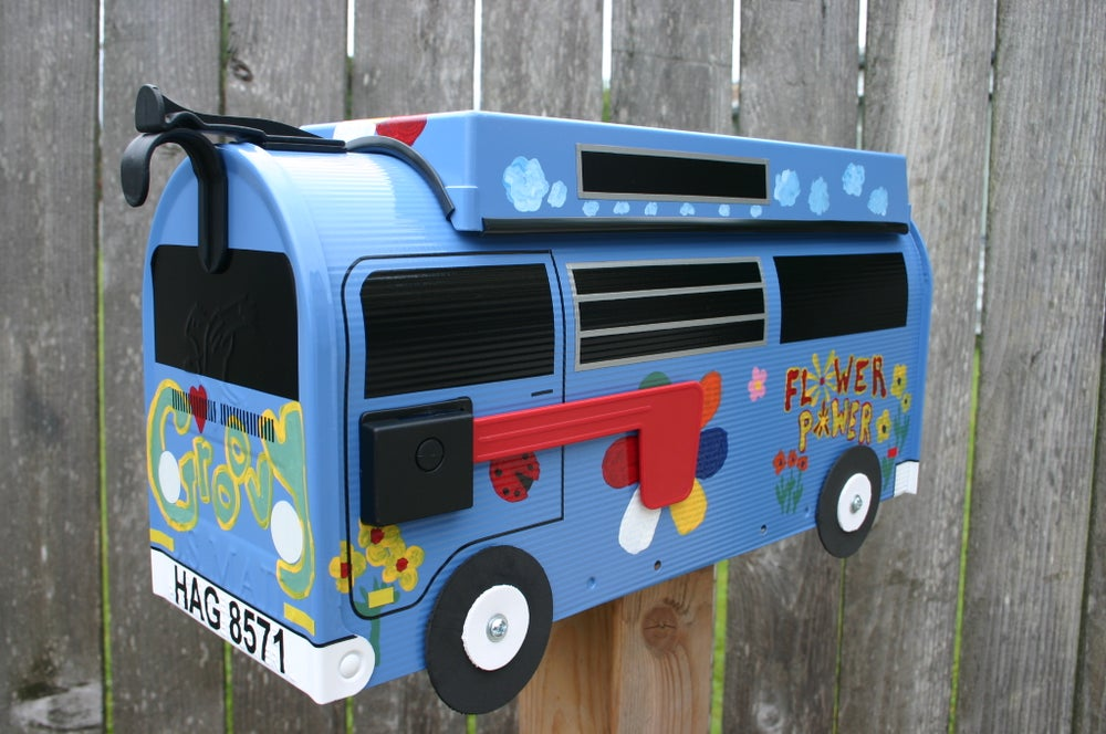 Image of Groovy Wildflower Blue Custom Painted Volkswagen Camper Bus by TheBusBox VW