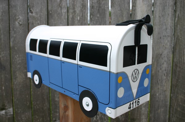 Image of Wildflower Blue Split Window Made To Order Volkswagen Bus - Mailbox by TheBusBox - Choose Your Color