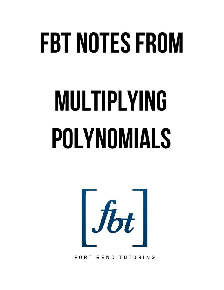 Image of Multiplying Polynomials FBT YouTube Video Notes