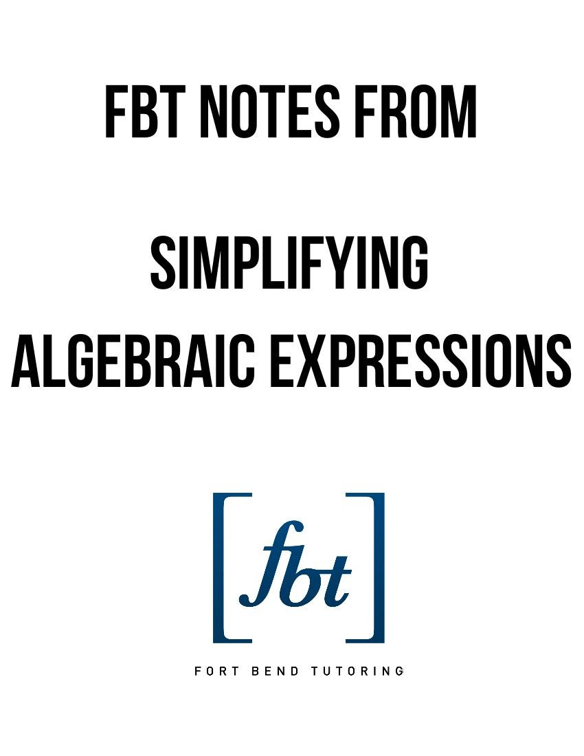 Simplifying Algebraic Expressions FBT YouTube Video Notes