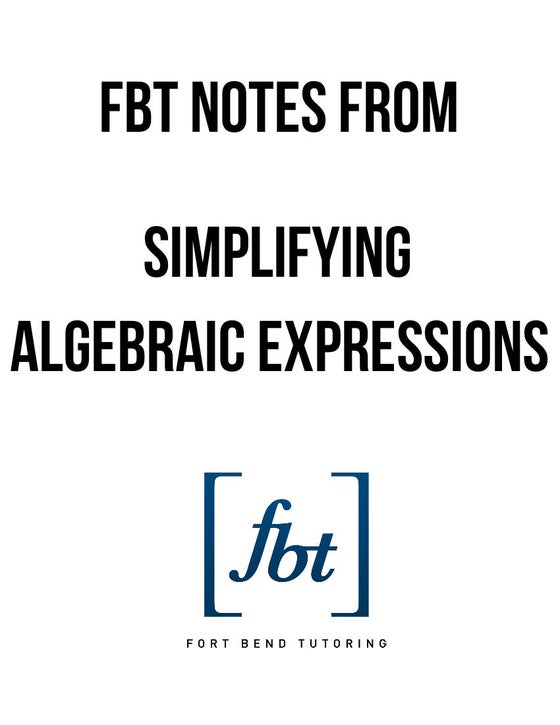 Image of Simplifying Algebraic Expressions FBT YouTube Video Notes