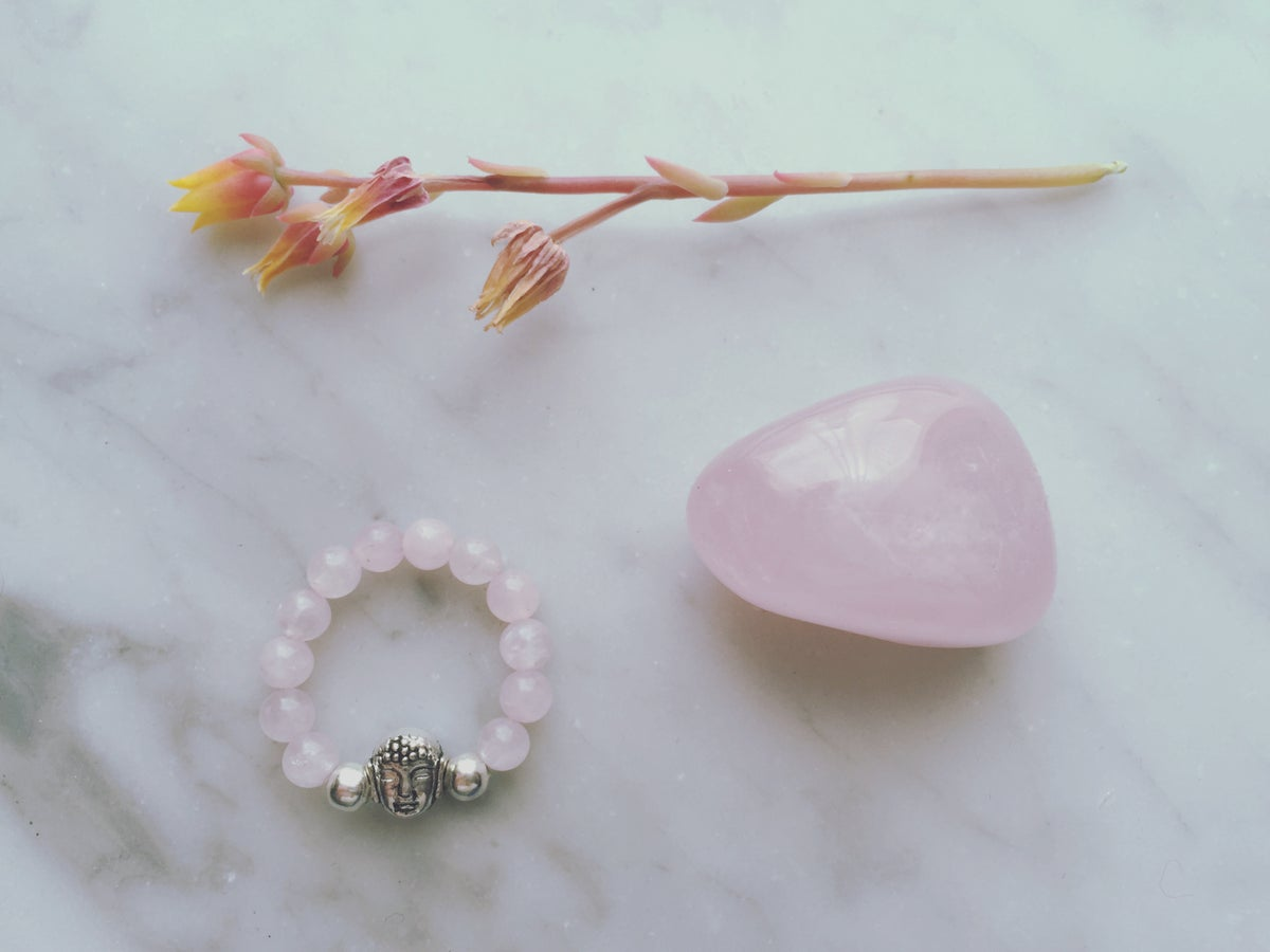 Image of Buddha Stretch Ring in Rose Quartz