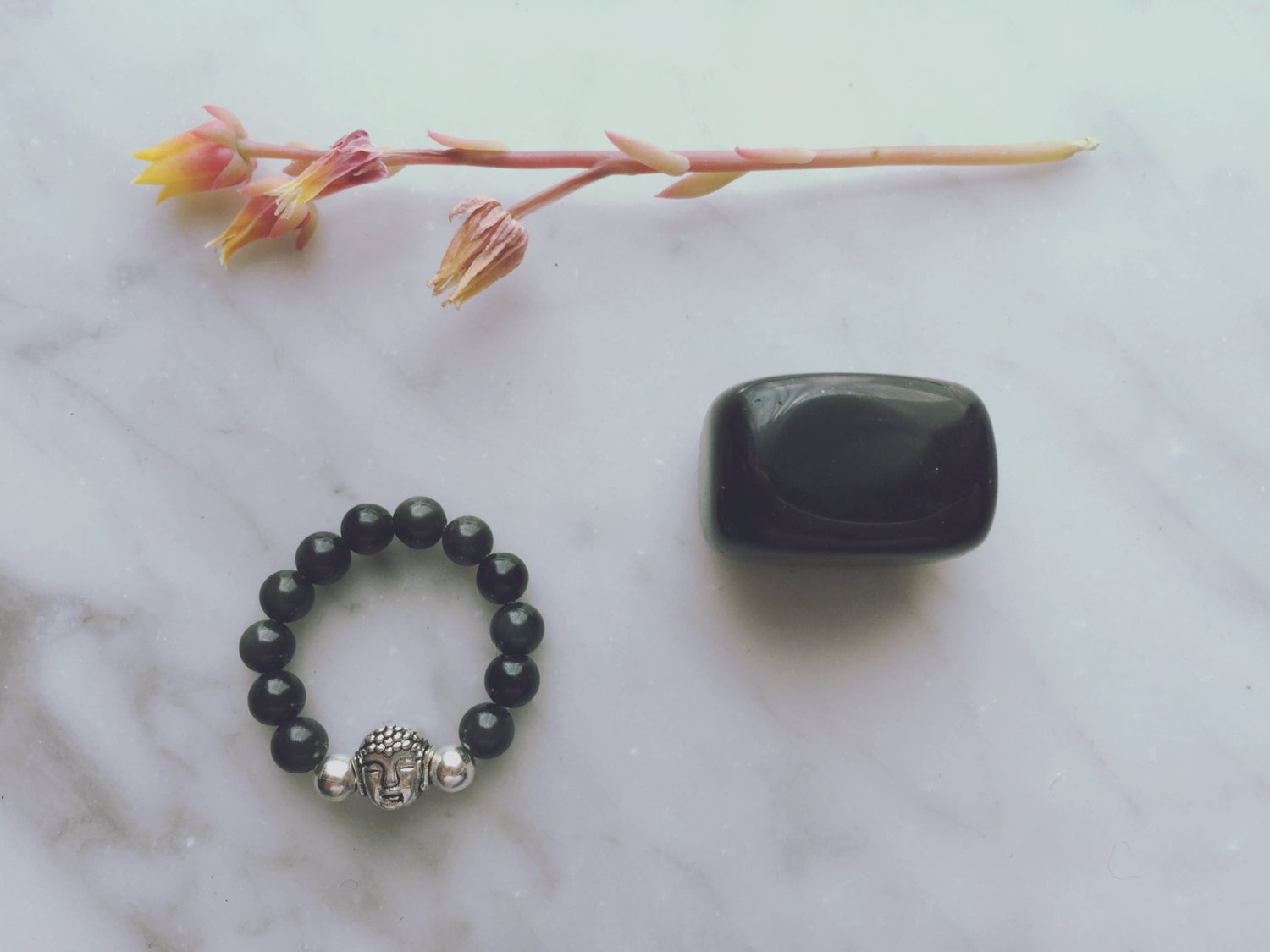 Buddha Stretch Ring in Obsidian