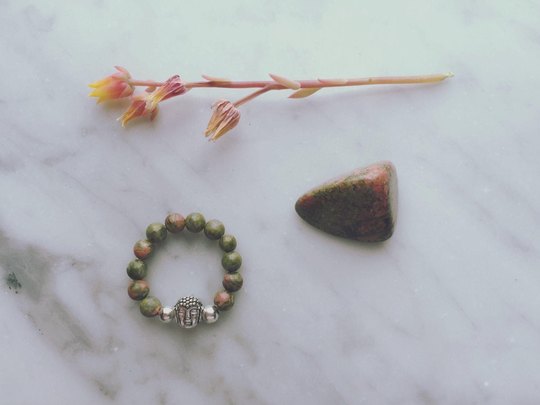 Buddha Stretch Ring in Unakite