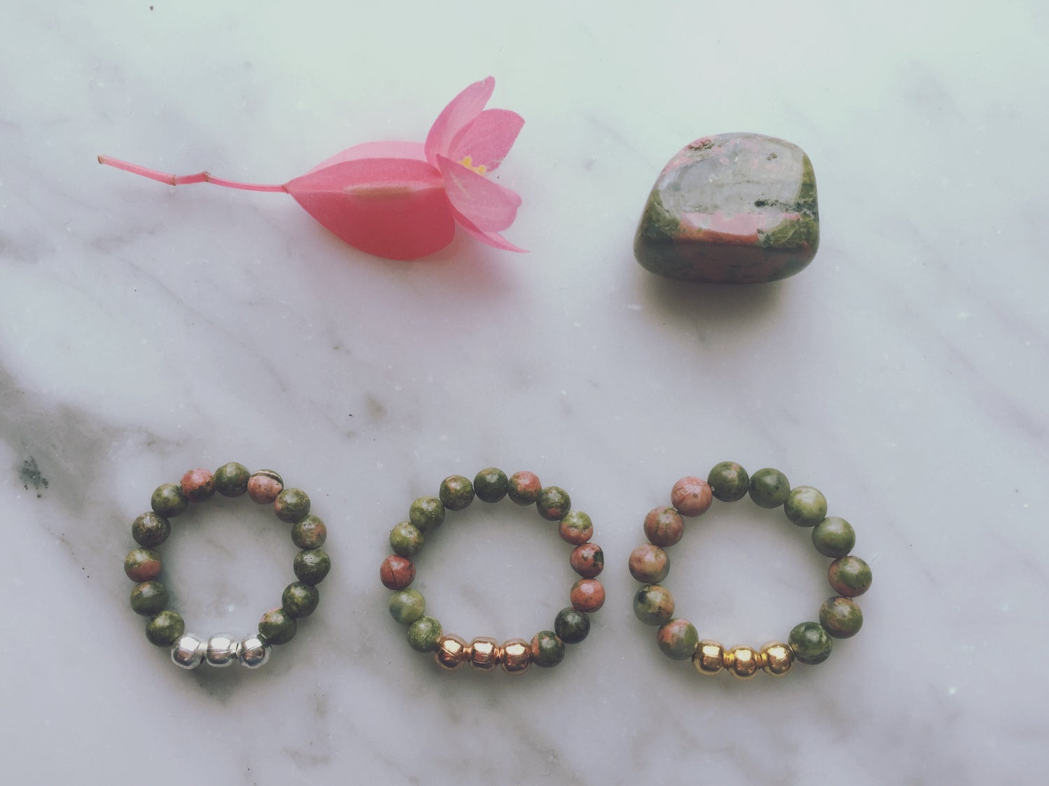 Trio Stretch Ring in Unakite