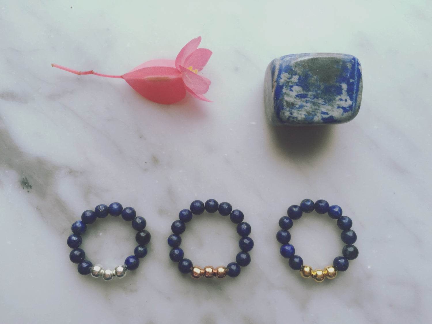 Trio Stretch Ring in Lapis Lazuli