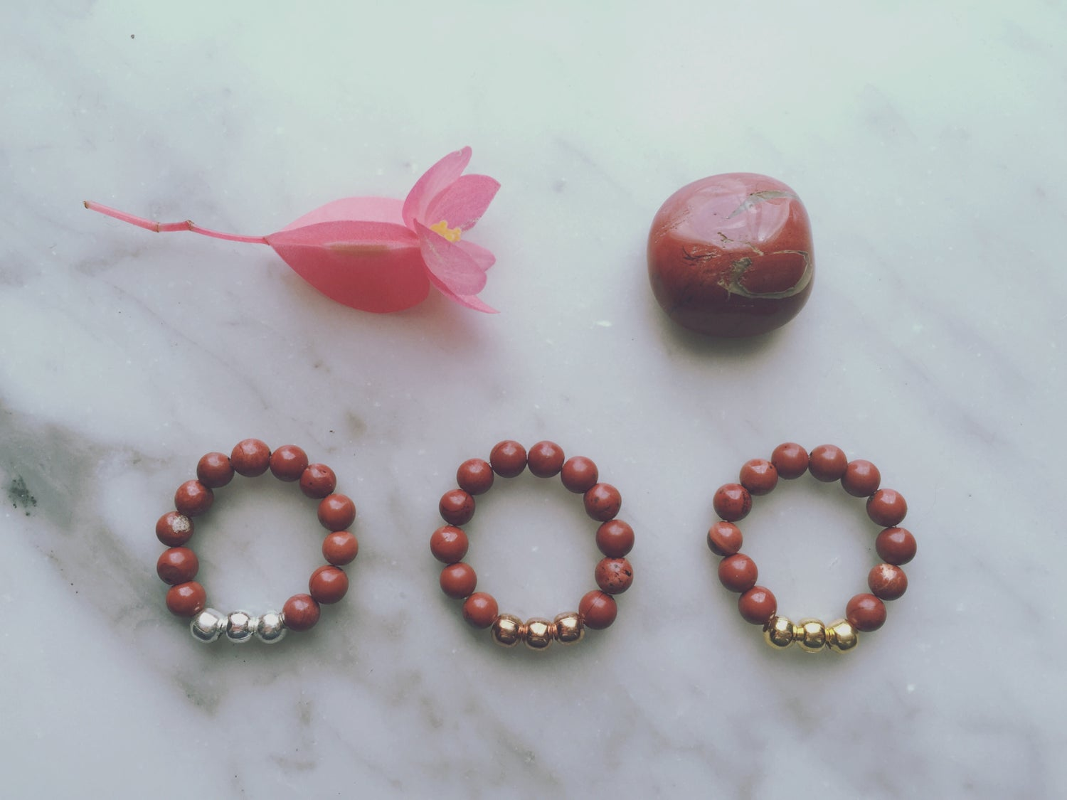 Trio Stretch Ring in Red Jasper