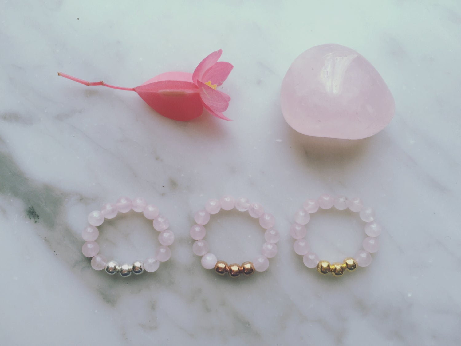 Trio Stretch Ring in Rose Quartz